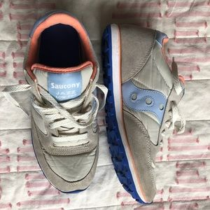 Saucony shoes, 9.5, grey, tan, blue and coral.